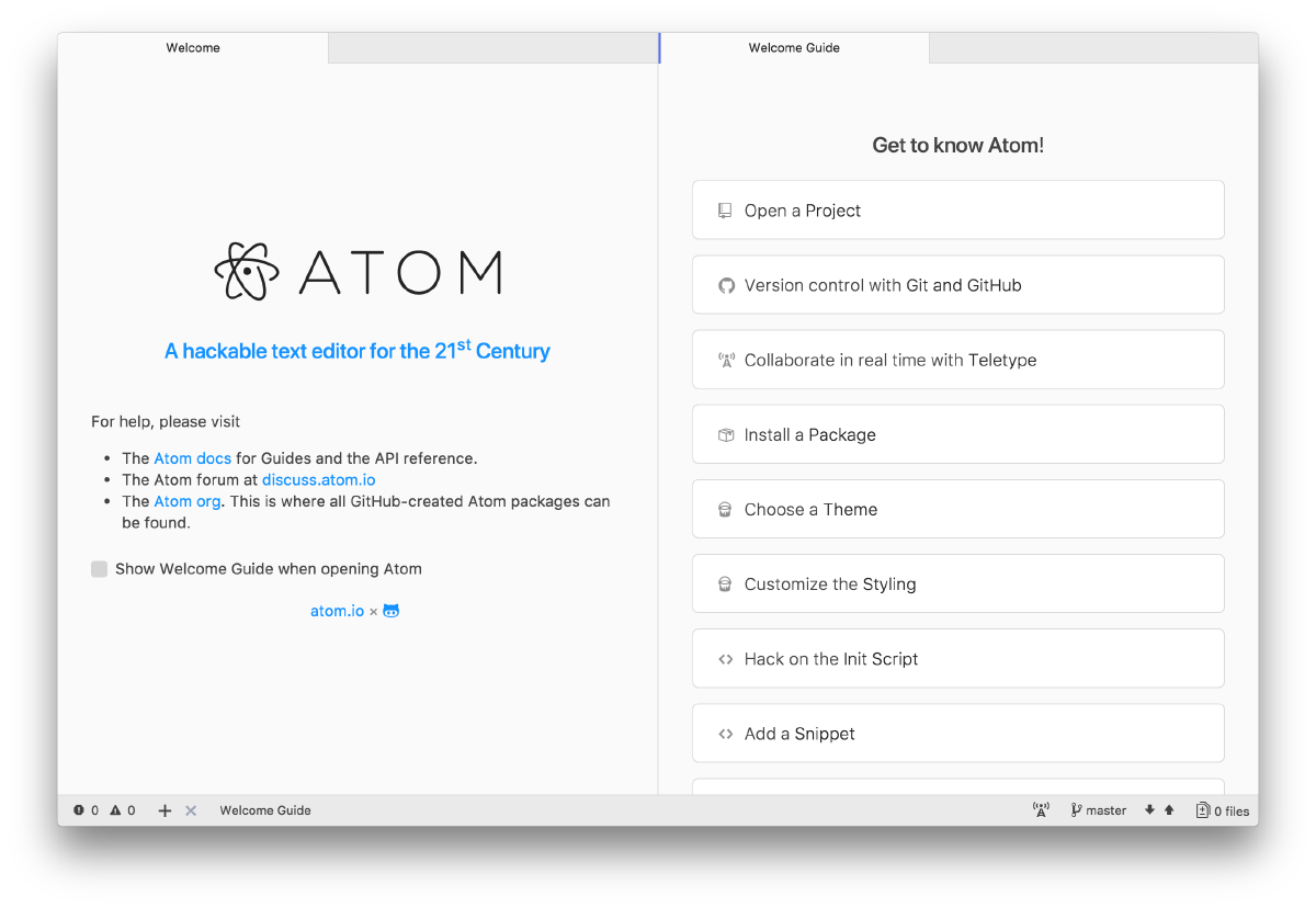Screentshot of the Atom editor Welcome Guide