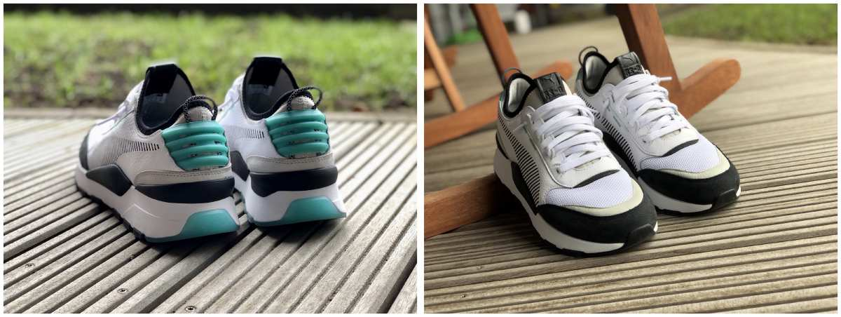 Two photos of the Puma RS-0 sneaker