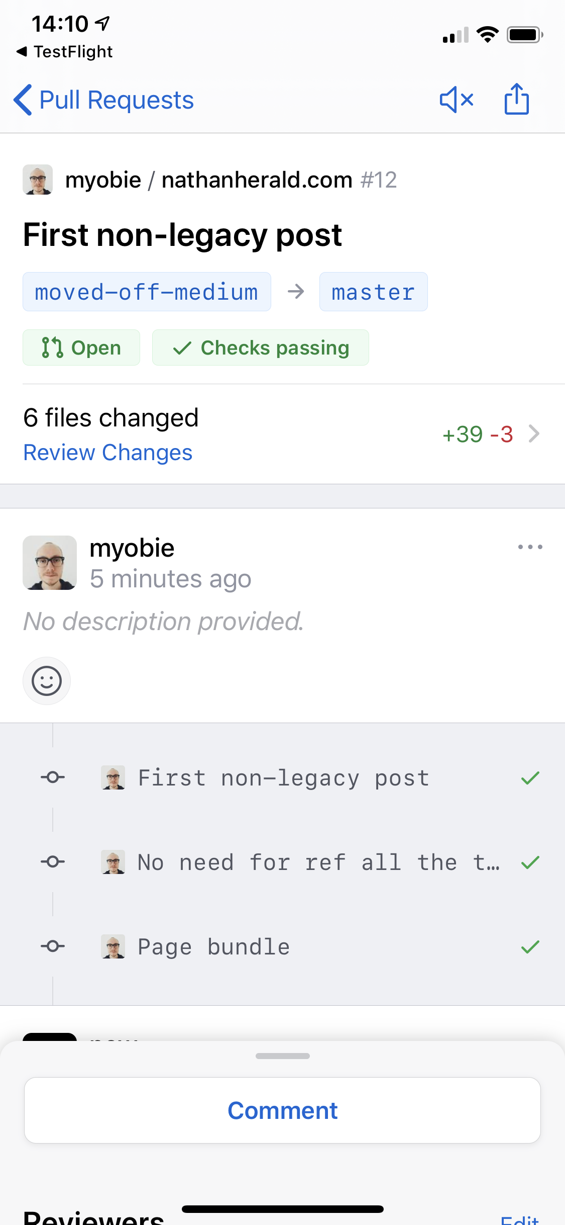 Screenshot of the GitHub Mobile app showing the Pull Request for this post